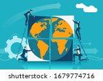 businesspeople assembling world ... | Shutterstock .eps vector #1679774716