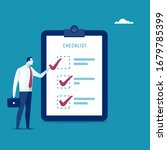 checklist. the manager checks... | Shutterstock .eps vector #1679785399