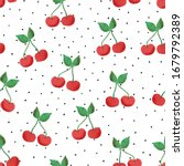 cherry seamless vector pattern. ... | Shutterstock .eps vector #1679792389