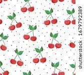 cherry seamless vector pattern. ... | Shutterstock .eps vector #1679792389