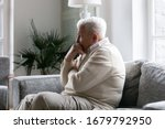 Grey Haired Old Man Sit On...