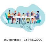 big happy family sitting at... | Shutterstock .eps vector #1679812000