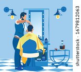 rear view of barber doing... | Shutterstock .eps vector #1679812063