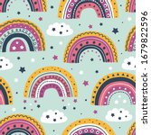 seamless pattern with rainbows... | Shutterstock .eps vector #1679822596
