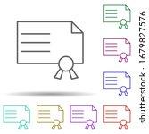 diploma multi color icon....