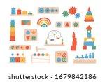 children wooden toys for...   Shutterstock .eps vector #1679842186