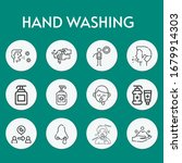 hand washing line icon set on...   Shutterstock .eps vector #1679914303