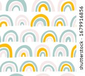 rainbow seamless pattern in... | Shutterstock .eps vector #1679916856