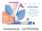 man working notebook sandglass...   Shutterstock .eps vector #1679924956