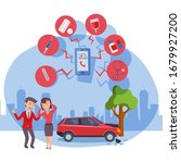 flat people  man and woman  car ... | Shutterstock .eps vector #1679927200