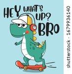 skater dinosaur vector... | Shutterstock .eps vector #1679936140