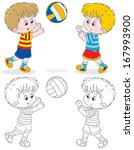 little volleyball players | Shutterstock .eps vector #167993900