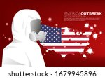 hazmat  and flag in usa map and ... | Shutterstock .eps vector #1679945896