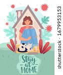 quarantines girl at home with a ... | Shutterstock .eps vector #1679953153