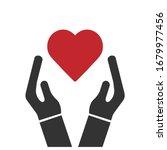 heart in hands vector icon