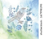 Bird With Flowers On Watercolo...