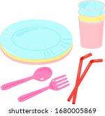 set of colorful disposable... | Shutterstock .eps vector #1680005869
