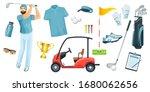 golf equipment set logo icons... | Shutterstock .eps vector #1680062656