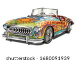 hippie vintage car isolated on...   Shutterstock .eps vector #1680091939