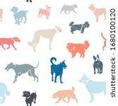 seamless pattern. dogs of...   Shutterstock .eps vector #1680100120