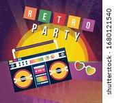 cartoon color retro party ad...   Shutterstock .eps vector #1680121540