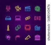 cinema icons. neon entertaiment ... | Shutterstock .eps vector #1680143476