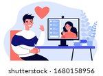 happy people dating online flat ... | Shutterstock .eps vector #1680158956