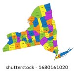 colorful new york political map ... | Shutterstock .eps vector #1680161020