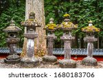 old stone lanterns on the path... | Shutterstock . vector #1680183706