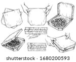 hand drawn ink set of pizza... | Shutterstock .eps vector #1680200593
