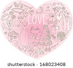 wedding icons arranged in heart ... | Shutterstock .eps vector #168023408