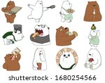 Set Of Stickers Funny Bears...