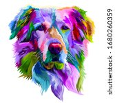 colorful golden retriever dog... | Shutterstock .eps vector #1680260359