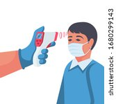 temperature check. doctor... | Shutterstock .eps vector #1680299143