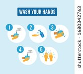 the best hand washing steps... | Shutterstock .eps vector #1680342763