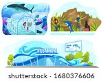 People in aquarium, dolphin show entertainment, vector illustration. Happy family leisure, mother and daughter in ocean aquarium. Dolphinarium performance, underwater zoo. Sea creatures, animal show