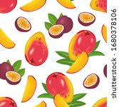 mango and passion fruit... | Shutterstock .eps vector #1680378106
