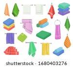 bath shower towels in stack set.... | Shutterstock .eps vector #1680403276