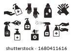 disinfection. hand hygiene. set ... | Shutterstock .eps vector #1680411616