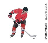 ice hockey player skating with... | Shutterstock .eps vector #1680417616