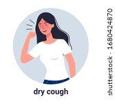 sick woman having dry cough.... | Shutterstock .eps vector #1680424870