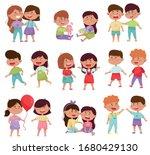 friendly little kids holding...   Shutterstock .eps vector #1680429130