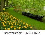 Spring Garden With Canal And...