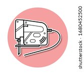 reciprocating saw sticker icon. ...