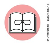 book and glasses sticker icon....