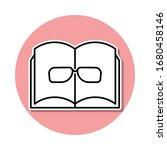 book and glasses sticker icon....