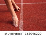 athlete in the starting blocks  ...   Shutterstock . vector #168046220