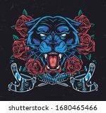 ferocious black panther head... | Shutterstock .eps vector #1680465466