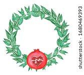 Watercolor Pomegranate Wreath....