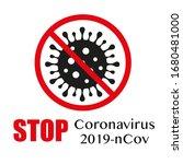 sign caution coronavirus. stop... | Shutterstock .eps vector #1680481000